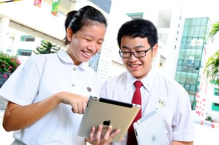 Pupils learning via tablet  devices
